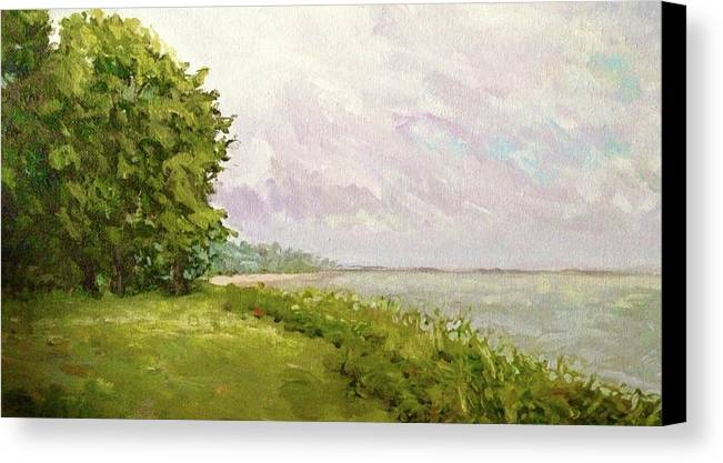 Sky Canvas Print featuring the painting Hampton Bays by Dennis Kirby