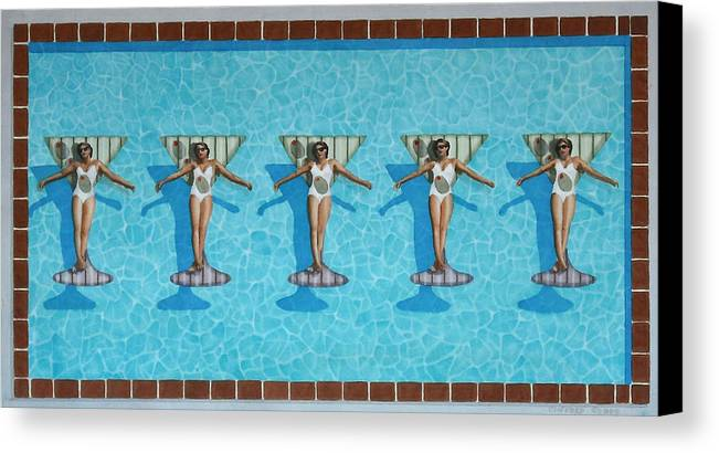Pool Canvas Print featuring the painting Martini Girls by Cory Clifford