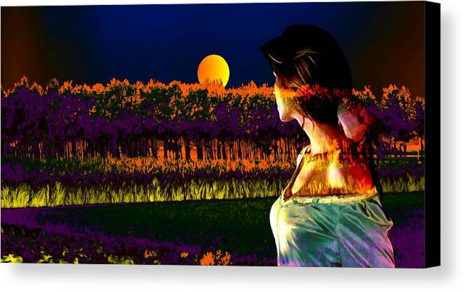 Moon Canvas Print featuring the digital art Moon Love by Bliss Of Art