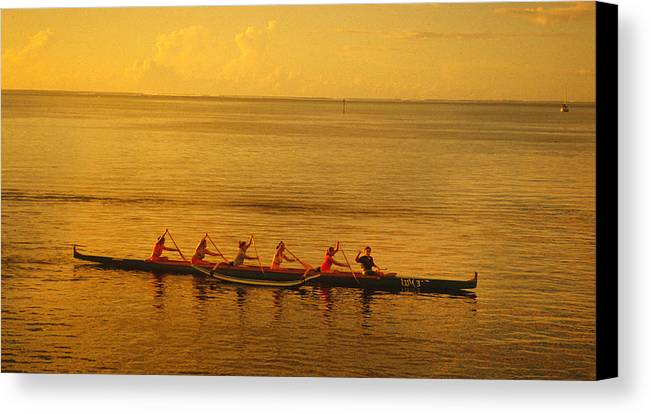 Boat Canvas Print featuring the photograph Outrigger In Tahiti by Carl Purcell
