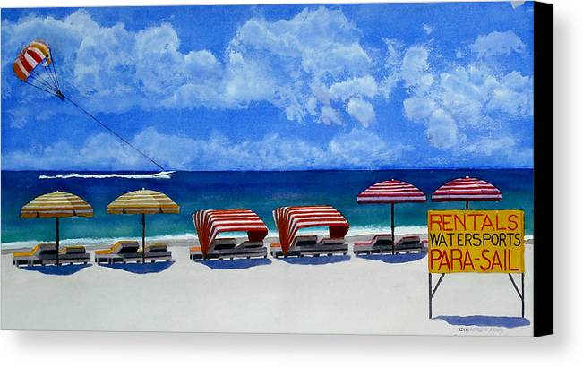 Beach Canvas Print featuring the painting Parasail by Cory Clifford