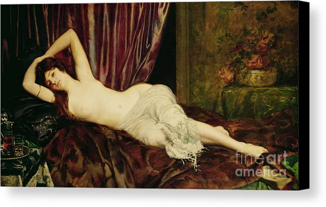 Reclining Canvas Print featuring the painting Reclining Nude by Henri Fantin Latour