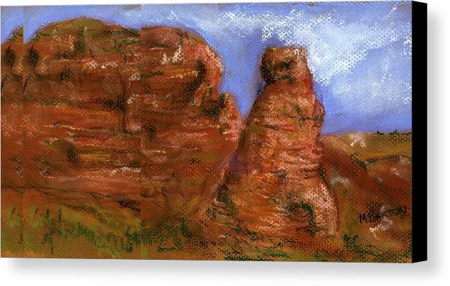 Desert Canvas Print featuring the painting Red Rocks by Marilyn Barton