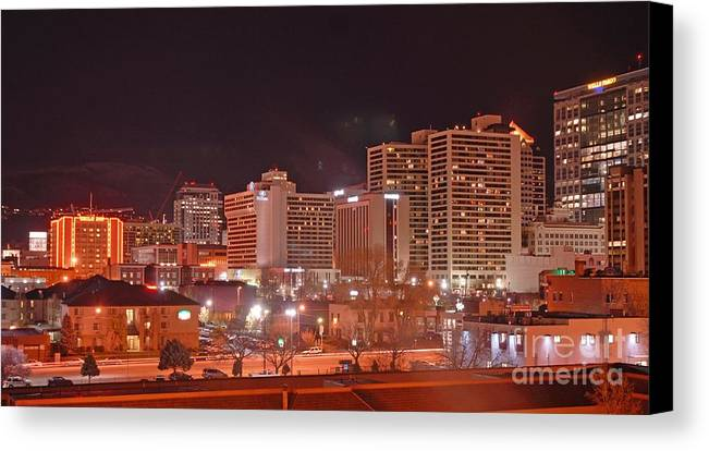 Salt Lake City Canvas Print featuring the photograph Salt Lake City Utah by Dennis Hammer