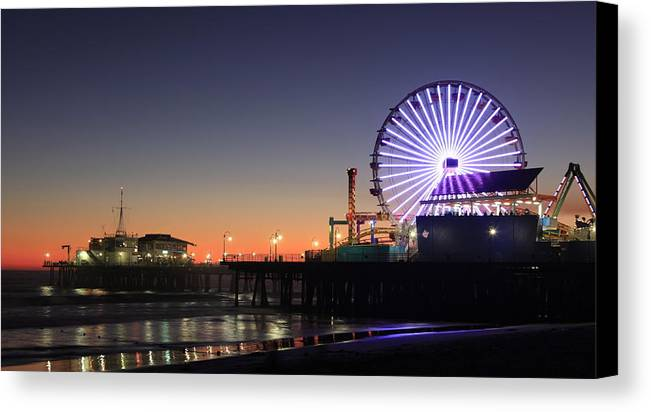 Landscape Canvas Print featuring the photograph Santa Monica Pier At Sunset by Frank Freni