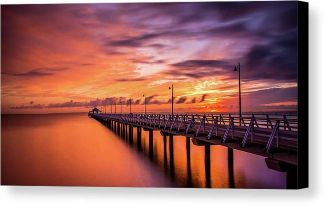 Pier Canvas Print featuring the photograph Sunrise by Cameron Richardson