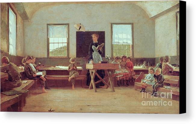 The Country School Canvas Print featuring the painting The Country School by Winslow Homer