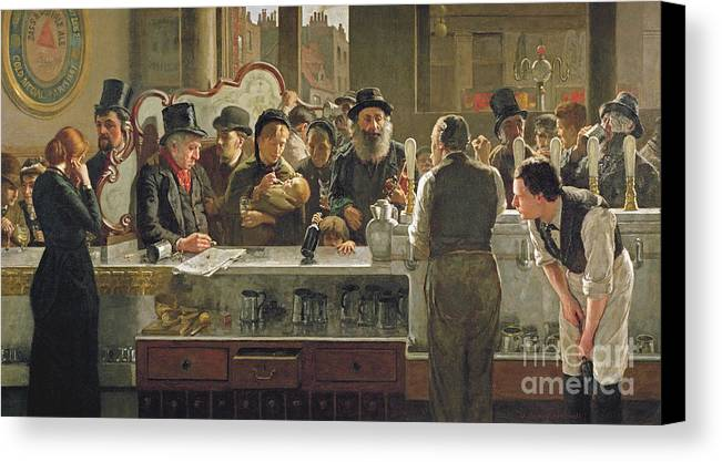 Drinking;drink;social;pub;landlord;barman;barmen Canvas Print featuring the painting The Public Bar by John Henry Henshall