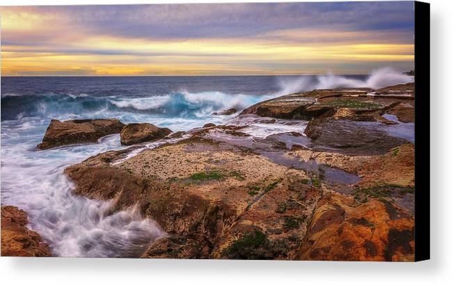 Canvas Print featuring the photograph Waves Breaking Up On Rocks In Sydney Australia by David Trent
