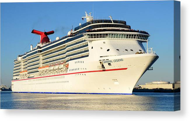 Cruise Ship Canvas Print featuring the photograph Carnival Legend Leaving Tampa Florida by David Lee Thompson