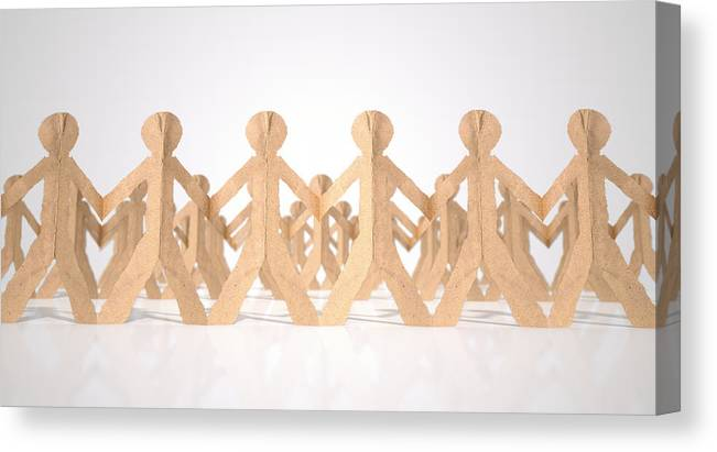 Paper Canvas Print featuring the digital art Crowd Of Cutout Paper Cardboard Men by Allan Swart