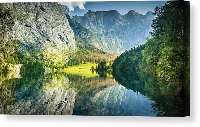 Obersee Canvas Print featuring the photograph Obersee In Bavaria by Bjoern Kindler