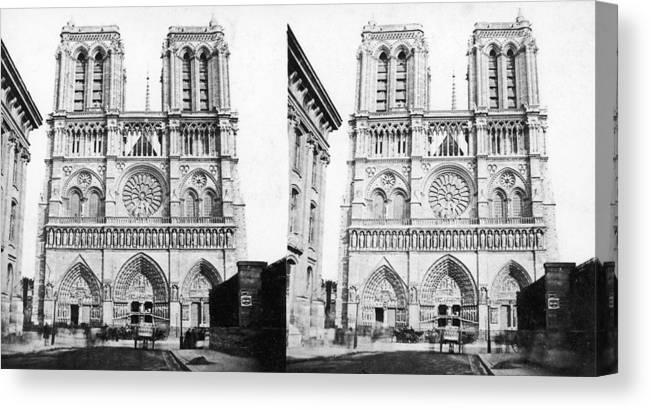 1860 Canvas Print featuring the photograph Paris Notre Dame, C1860 by Granger