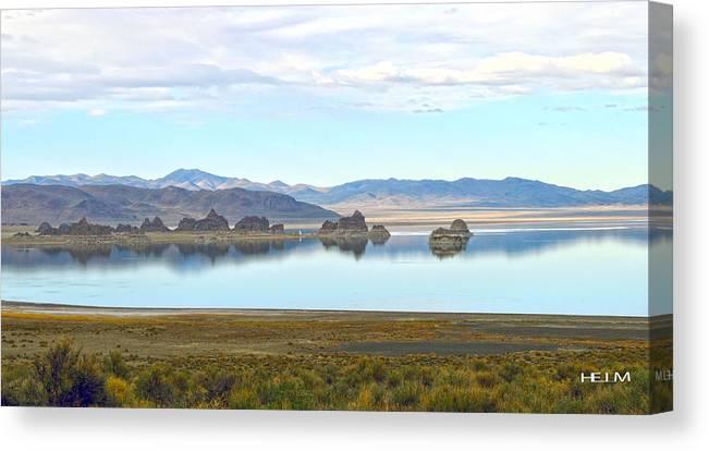 Pyramid Lake Photographs Canvas Print featuring the photograph Pinnacles by Mayhem Mediums
