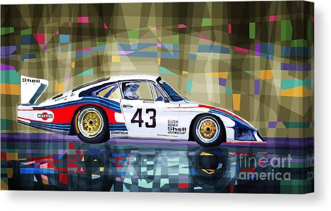 Automotive Canvas Print featuring the digital art Porsche 935 Coupe Moby Dick by Yuriy Shevchuk