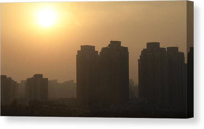 Sunset Canvas Print featuring the photograph Residential Sunset - Beijing China by Brendan Reals