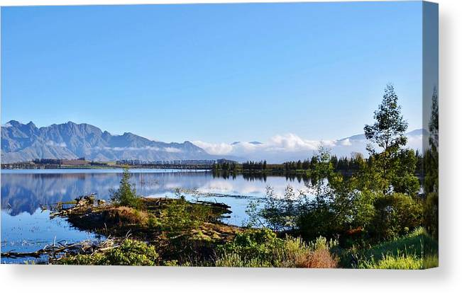 Landscape; Theewaterskloofdam; Morning; Light; Villiersdorp; South Africa; Blue; Trees; Mountains; White Clouds; Sky; Reflection; Peaceful; Tranquil; Canvas Print featuring the photograph Theewaterskloofdam by Werner Lehmann