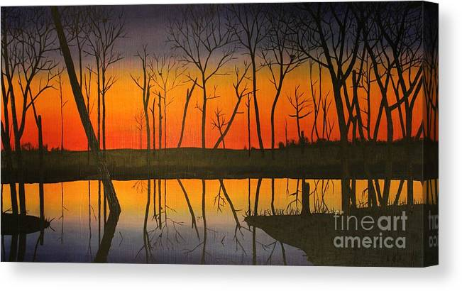 Landscape Canvas Print featuring the painting Twilight Reflections by Lee Alexander