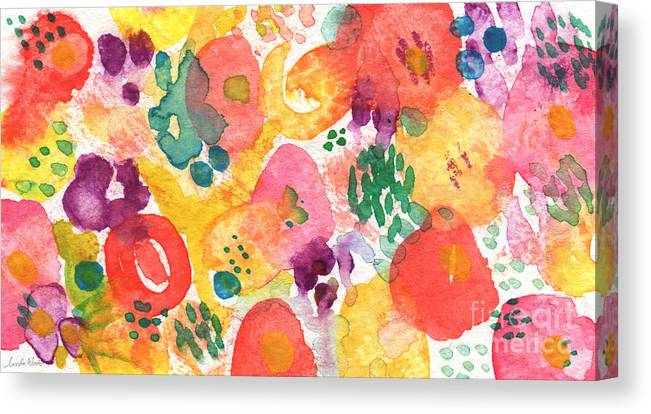 Flowers Canvas Print featuring the painting Watercolor Garden by Linda Woods