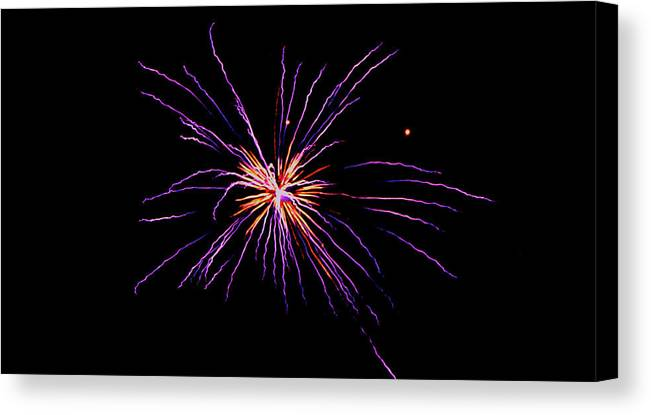 Firework Canvas Print featuring the photograph Purple Explosion by Robbie Basquez