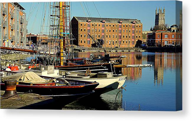 Gloucester Canvas Print featuring the photograph A View From The Docks by Peter Hunt
