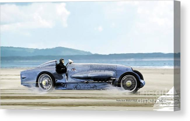Bluebird Ii Canvas Print featuring the mixed media Bluebird II, 1928, World Record Land Speed Record At Pendine Sands, Wales, 178.88 Mph by Thomas Pollart