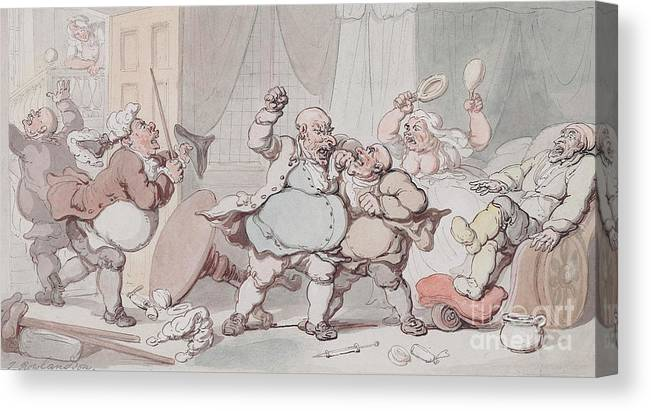 Rowlandson Canvas Print featuring the drawing Doctors Differ by Thomas Rowlandson