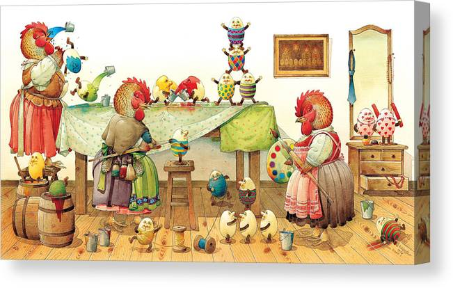 Eggs Easter Canvas Print featuring the painting Eggs Dyeing by Kestutis Kasparavicius