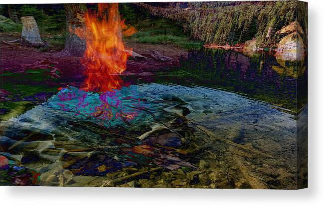 Tree Canvas Print featuring the digital art Firenwater by Laura Kaschmitter