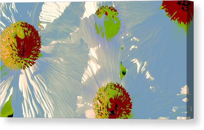 Floral Abstract Canvas Print featuring the photograph Matilija Poppies Pop Art by Ben and Raisa Gertsberg