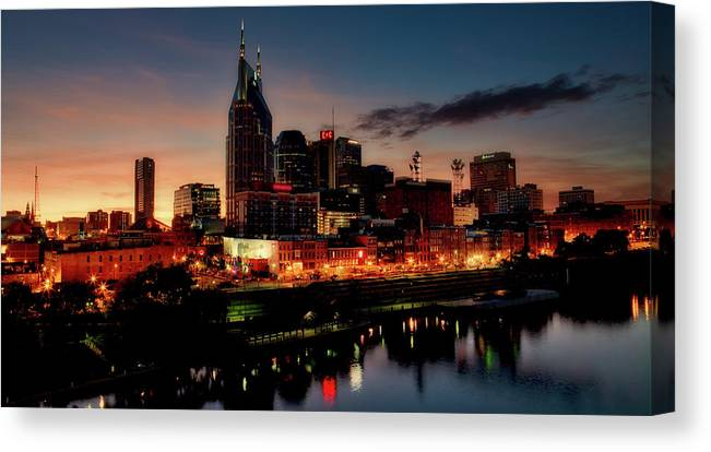 Nashville Canvas Print featuring the photograph Nashville At Sunset by Mountain Dreams