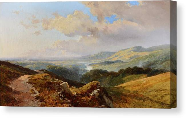Edward H. Niemann (fl. 1863-1867) An Extensive Mountainous River Landscape Canvas Print featuring the painting River Landscape by Edward
