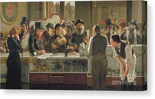 Drinking;drink;social;pub;landlord;barman;barmen Canvas Print featuring the painting The Public Bar by John Henry Henshall