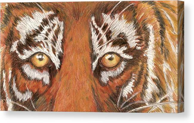 Tiger Canvas Print featuring the painting Tiger Eyes 2 by Patricia R Moore
