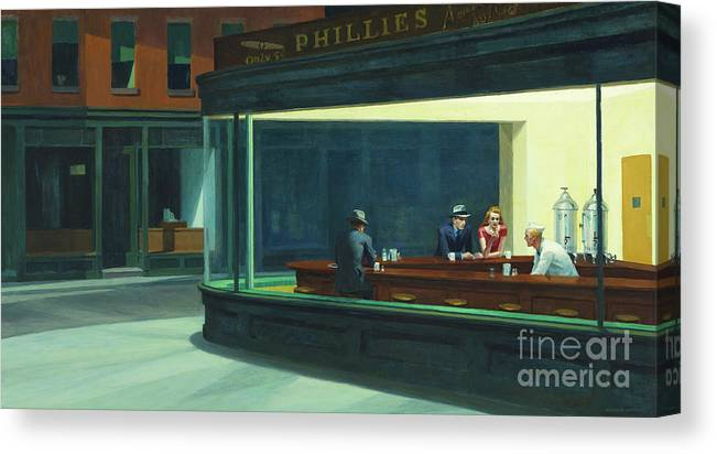 Hopper Canvas Print featuring the painting Nighthawks, 1942 by Edward Hopper