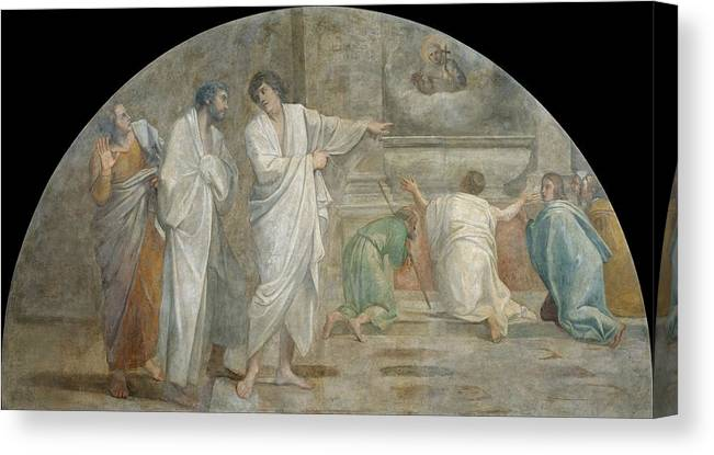 Annibale-carracci Canvas Print featuring the painting Apparition Of Saint Didacus Above His Sepulchre by Annibale Carracci
