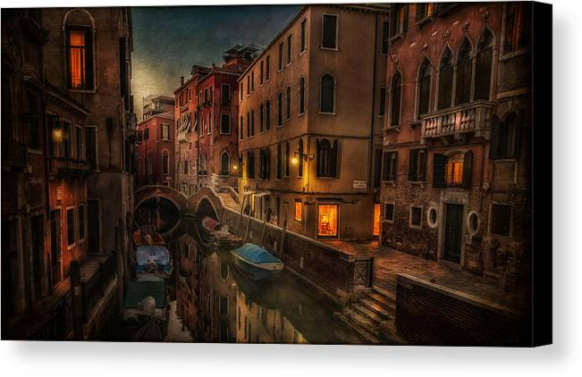 Venice - Italy Canvas Print featuring the photograph Sunset In Venice by Dobromir Dobrinov