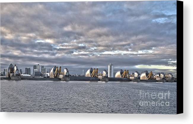 Thames Canvas Print featuring the photograph Thames Barrier London by Philip Pound