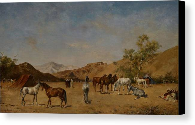 Arabian; Arabia; Middle East; Middle Eastern; Landscape; Desert; Horses; Horse; Mountains; Mountainous; Arid; Wilderness; Camp; Encampment; Travel; Travellers; Tent; Tents; Journey Canvas Print featuring the painting An Arabian Camp by Eugene Fromentin