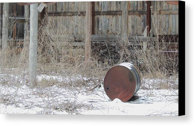 Old Rustic Barn And Barrel Canvas Print featuring the photograph Barn #38 by Todd Sherlock