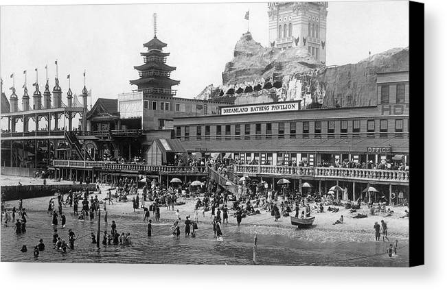 New York Canvas Print featuring the photograph Coney Island - Dreamland Beach by MMG Archives