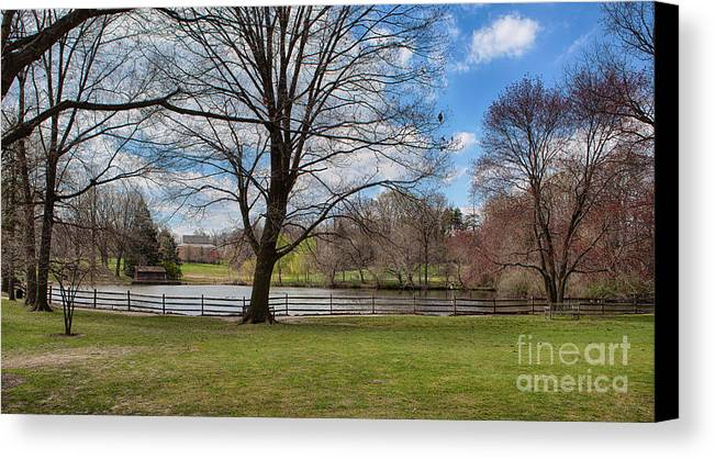 Haverford College Canvas Print featuring the photograph Duck Pond Haverford College by Kay Pickens