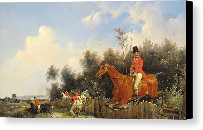 Scene De Chasse; Hunter; Hunters; Huntsman; Hunt; Riding; Horse; Rider; Outfit; Jumping; Fence; Landscape Canvas Print featuring the painting Hunting Scene by Bernard Edouard Swebach