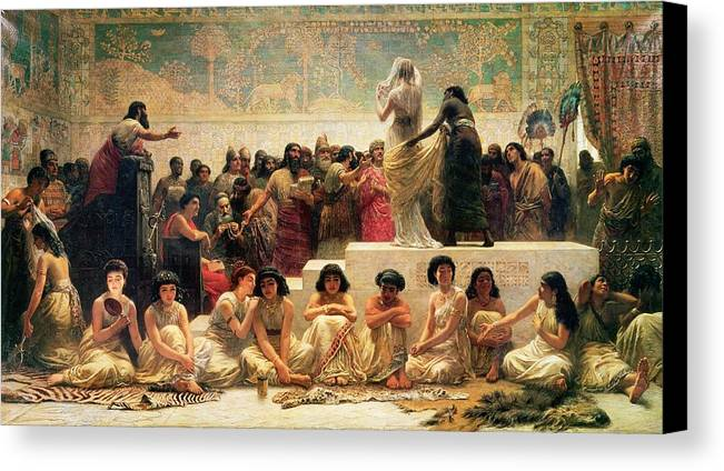 Iraq Canvas Print featuring the painting The Babylonian Marriage Market, 1875 by Edwin Longsden Long