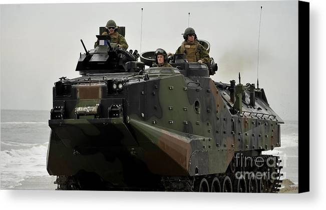 Exercise Bold Alligator Canvas Print featuring the photograph Amphibious Assault Vehicles Make by Stocktrek Images