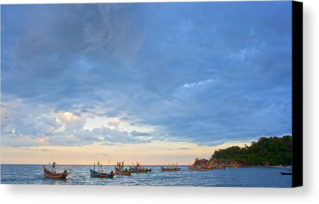 Sea Canvas Print featuring the photograph Local Fishing Boats Dock. by Krit Kaewhawong