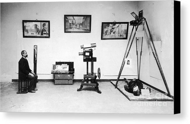 Science Canvas Print featuring the photograph Surveillance Equipment, 19th Century by Science Source