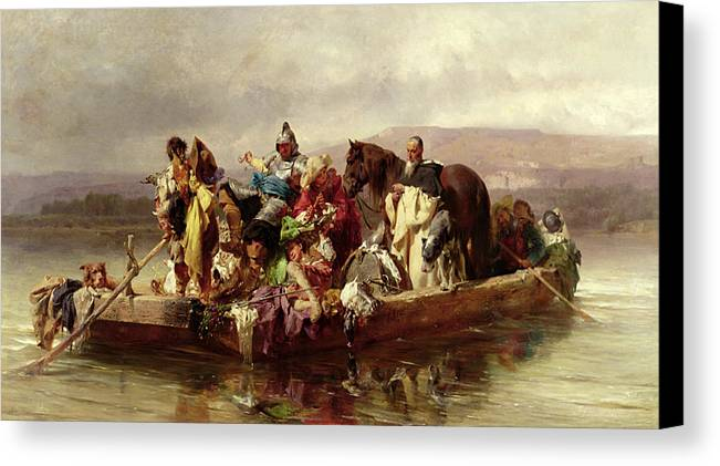 The Canvas Print featuring the painting The Ferry by Johann Till