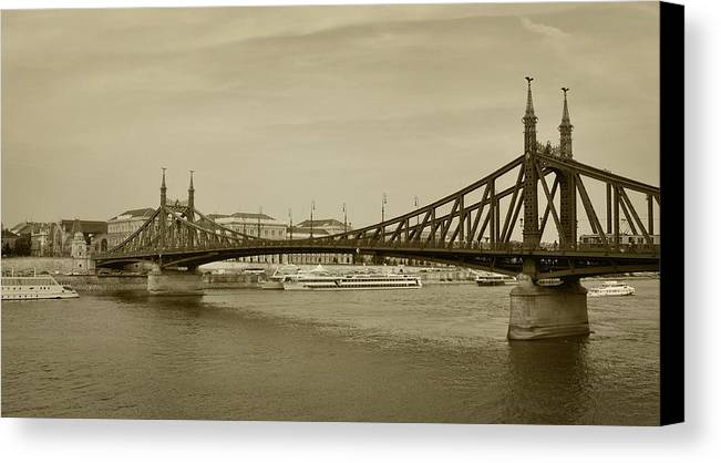 Black And White Canvas Print featuring the photograph Bridges by Supertramp One