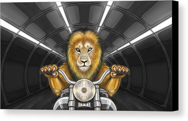 Lion On Motorcycle Canvas Print featuring the digital art Lion On Motorcycle by Tahir Tahirov